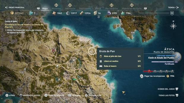 Assassin's Creed Odyssey - Lanza el dado: localización del tesoro en la Gruta de Pan