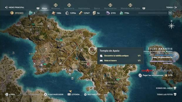 Assassin's Creed Odyssey - Lanza el dado: localización del tesoro en el Templo de Apolo