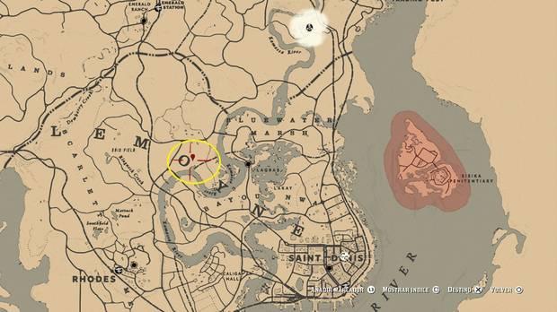 mapa con la serpiente gigante en Red Dead Redemption 2