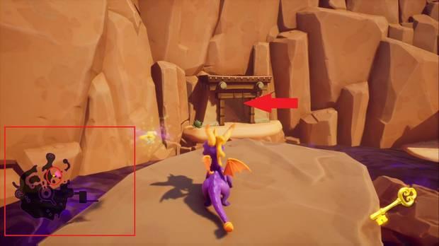 Spyro the Dragon - Tierra de los Pacificadores: cofre cerrado