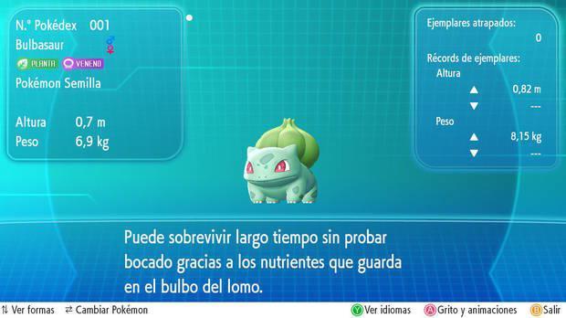 Bulbasaur en Pokémon Let's Go
