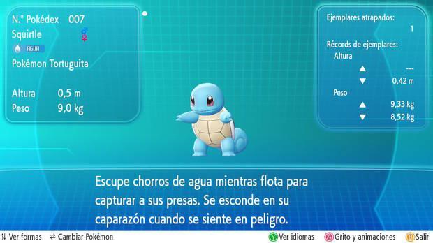 Squirtle en Pokémon Let's Go