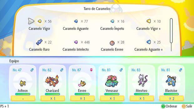 Tipos de caramelos en Pokémon Let's Go