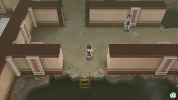 Pokémon let's Go - Mansión Pokémon: escalera al sótano
