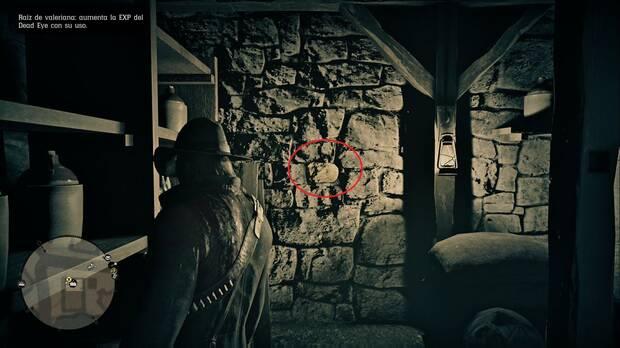 Red Dead Redemption 2 - Robos en tiendas: Strawberry (Tienda de objetos) ladrillo en el sótano