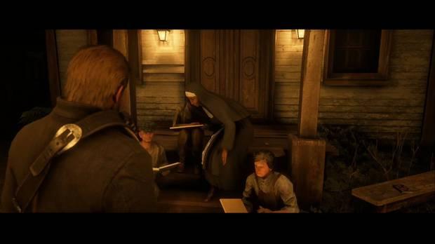 Red Dead Redemption 2 - Todos somos hermanos: la viuda Downes se asusta al ver a Arthur