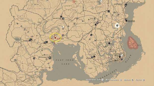 Ubicación Mapa del tesoro 1: La banda de Jack Hall - Red Dead redemption 2
