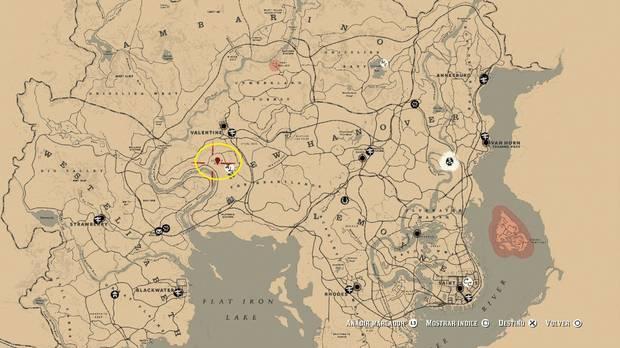 Ubicación mapa del tesoro 2: La Banda de Jack Hall - Red Dead Redemption 2