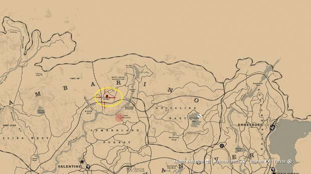 Ubicación mapa del tesoro 3: La Banda de Jack Hall - Red Dead Redemption 2