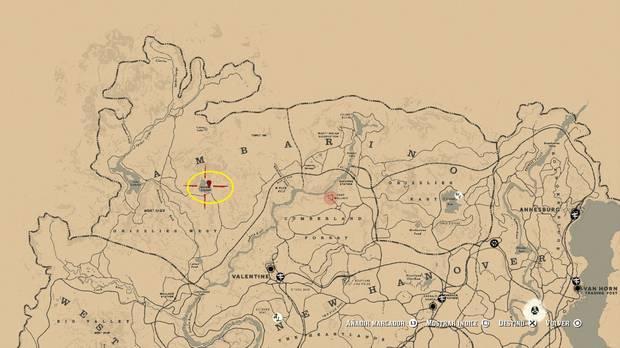 Ubicación mapa del tesoro 3 de Alto Riesgo - Red Dead Redemption 2