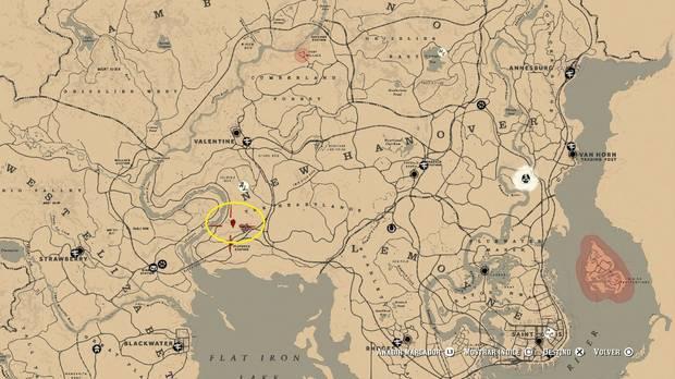 Ubicación mapa del tesoro 1 de Le Trésor des Morts - Red Dead Redemption 2