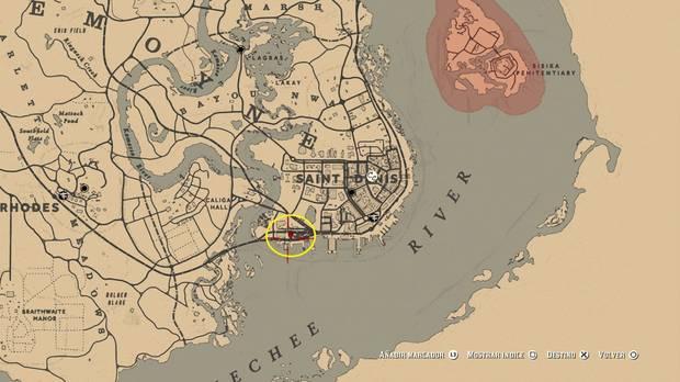 Ubicación mapa del tesoro 2 de Le Trésor des Morts - Red Dead Redemption 2