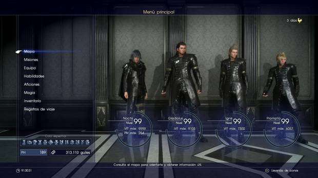 Final Fantasy XV subir de nivel