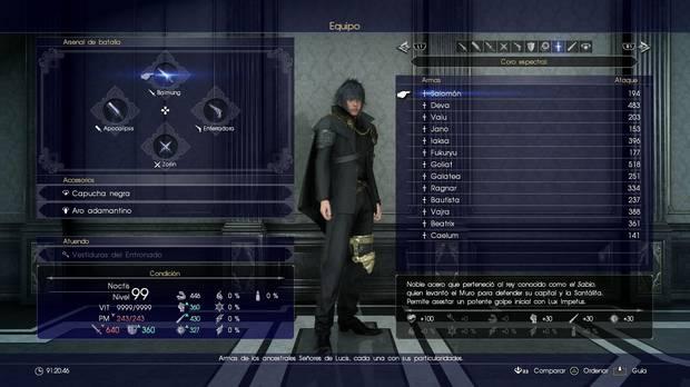 Armas ancestrales en Final Fantasy XV