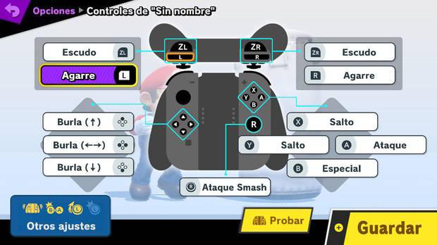 Super Smash Bros. Ultimate controles con Joy-Con en horizontal