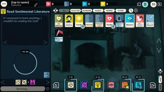 Interfaz de Cultist Simulator en Nintendo Switch.