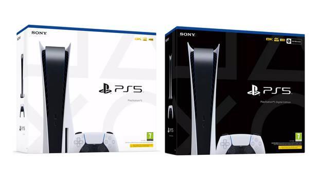 Cajas de PS5 y PS5 Digital Edition.