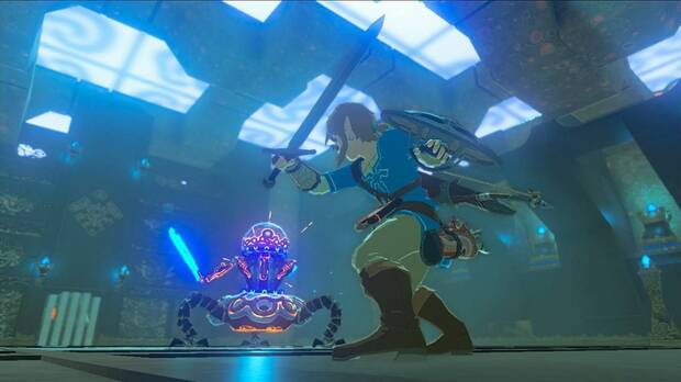 Image from The Legend of Zelda Breath of the Wild in which Link fights a guardian