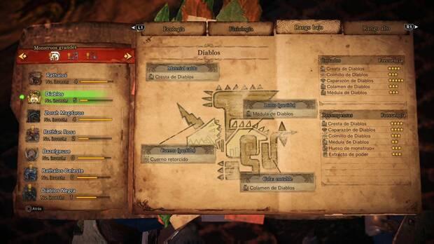 Materiales Diablos Monster Hunter World