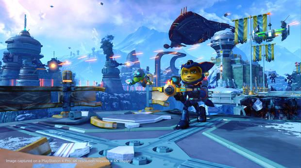 Screenshot of Ratchet and Clank on PS4.