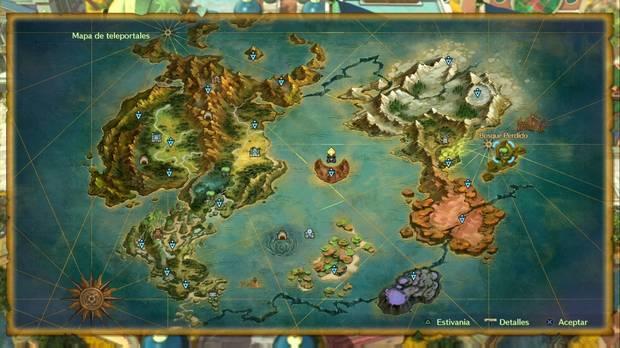 Ni No Kuni 2: El renacer de un reino, Teleportales, Mapamundi