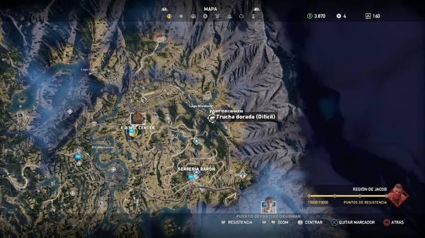 Far Cry 5, Animales, Trucha dorada (Difícil)