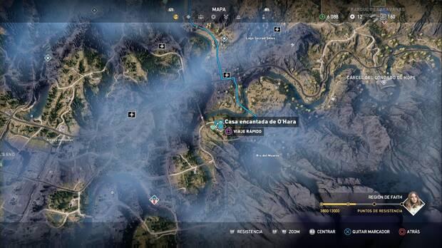 Far Cry 5, Escondites de preparacionista, región de Faith, casa encantada de o'hara
