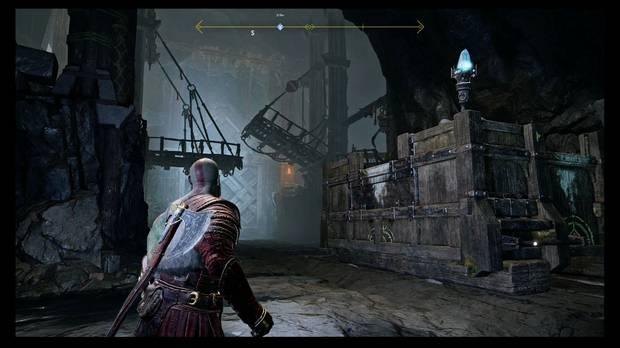 God of War - Dentro de la montaña - Baja el puente y empuja el bloqueado