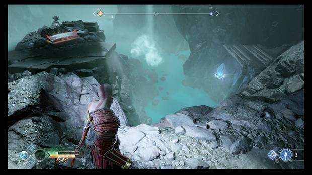 God of War - Dentro de la montaña - Otro cristal que despliega un puente
