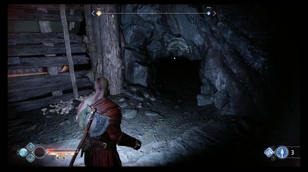 God of War - Dentro de la montaña - Cruza el pequeño túnel