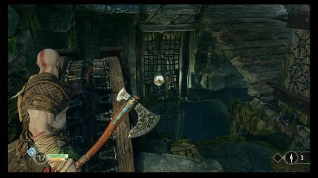 God of War - La senda a la montaña - Gira la rueda lo justo para romper el mecanismo