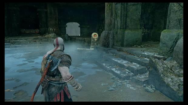 God of War - La senda a la montaña - Baja por la cadena para conseguir un coleccionable