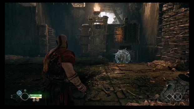 God of War - La senda a la montaña - Abre la compuerta sin dejar que se caiga el techo