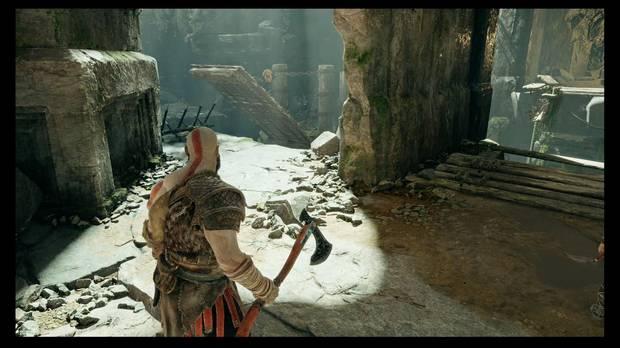 God of War - La senda a la montaña - Rompe los discos desde ese hueco