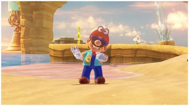 Super Mario Odyssey, Nuevos Trajes, Actualización, Gafas y camisa Sunshine