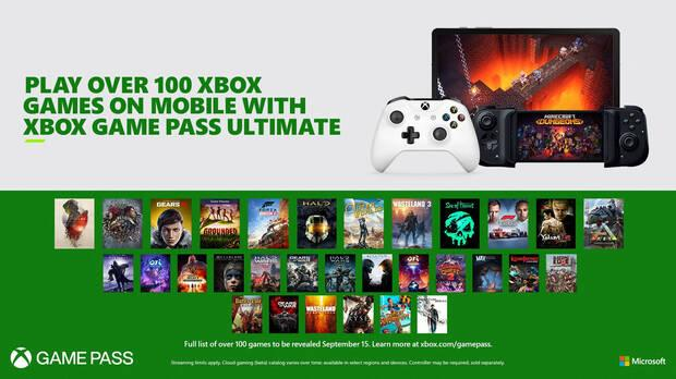 Catálogo de Xbox Game Pass en la nube con la suscripción Ultimate.