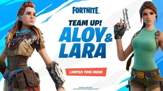 Evento de Aloy y Lara Croft en Fortnite.
