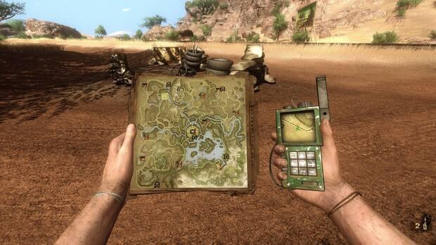 Hand-drawn maps in Far Cry 2 Modernized.