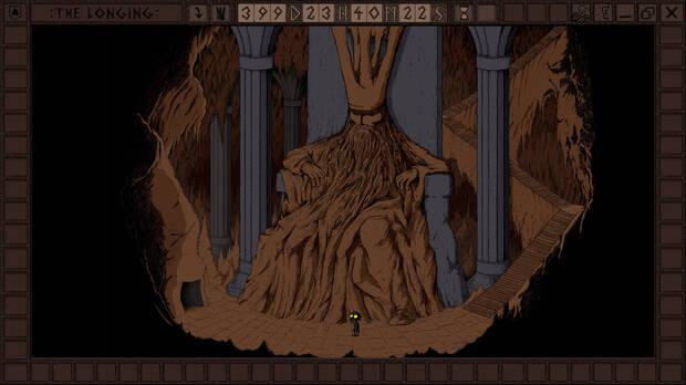 Sombra, protagonista de The Longing, junto al rey dormido.