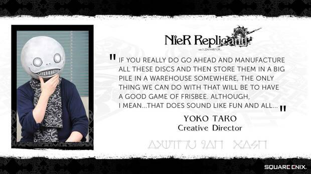 Yoko Taro doubts that NieR Replicant sells very well because Nier Automata was an exception.