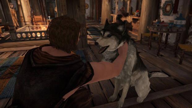Personaje acariciando a un perro en Skyrim gracias a un mod.
