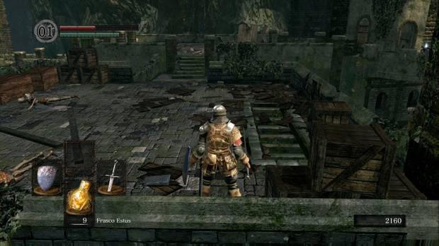 Dark Souls Remastered, Burgo de los no muertos, Escaleras, Camino al Mercader no muerto (hombre), Uchigatana