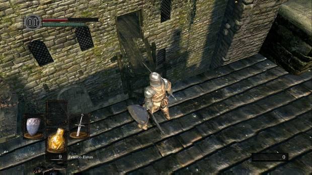 Dark Souls Remastered, Burgo de los no muertos, Tejado cuchillos, Salto, Segunda planta puente roto, Ballesta ligera