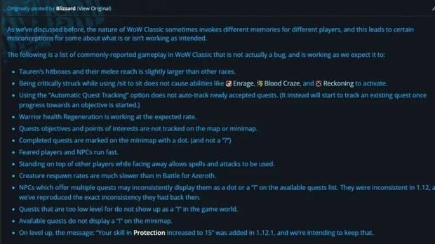 Los jugadores confunden las características de WoW Classic con bugs Imagen 2