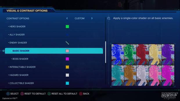 Algunas de las opciones de accesibilidad de Ratchet and Clank: Una dimensi
