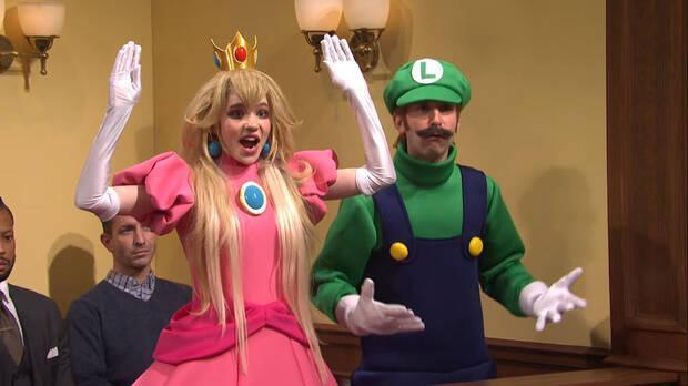Princess Peach and Luigi in the Saturday Night Live skit.