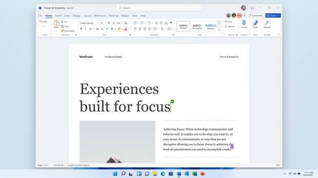 New Microsoft Word in Windows 11.