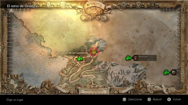 Octopath Traveler, Mapamundi, Trabajos, Trabajos, secundarios, Santuario de la Cazadora, Cazador