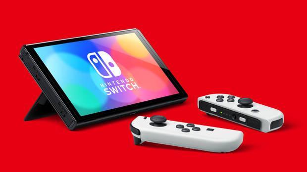 New Nintendo Switch OLED with white Joy Con.
