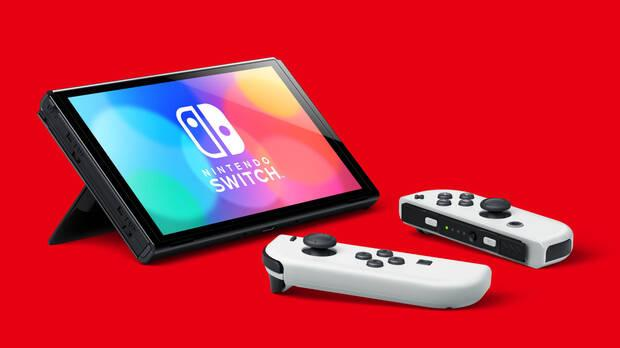 New Nintendo Switch OLED with Joy Cons in white.